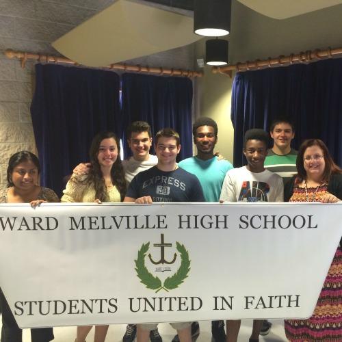 Members of the student Christian club at Ward Melville High School in Setauket, N.Y.