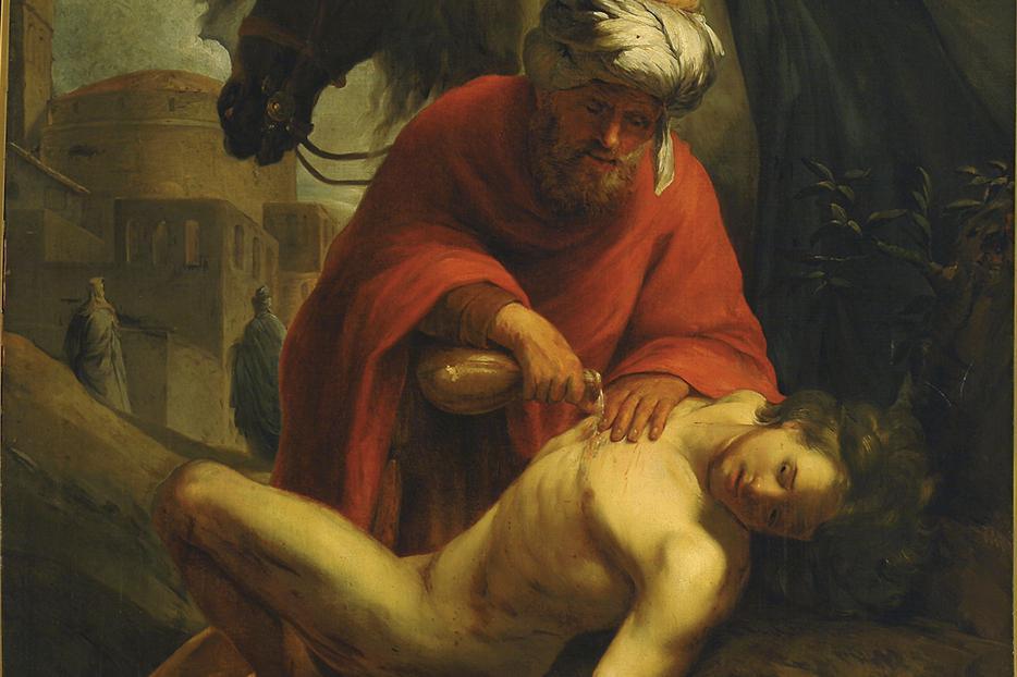 The good Samaritan heals the traveller (Nicolaes Roosendael, 1665)