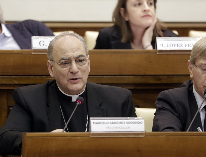 Msgr. Marcelo Sanchez Sorondo, chancellor of the Pontifical Academy of Sciences, delivers a message at a conference on 'Organ Trafficking and Transplant Tourism,' held at the Vatican, Feb. 7.
