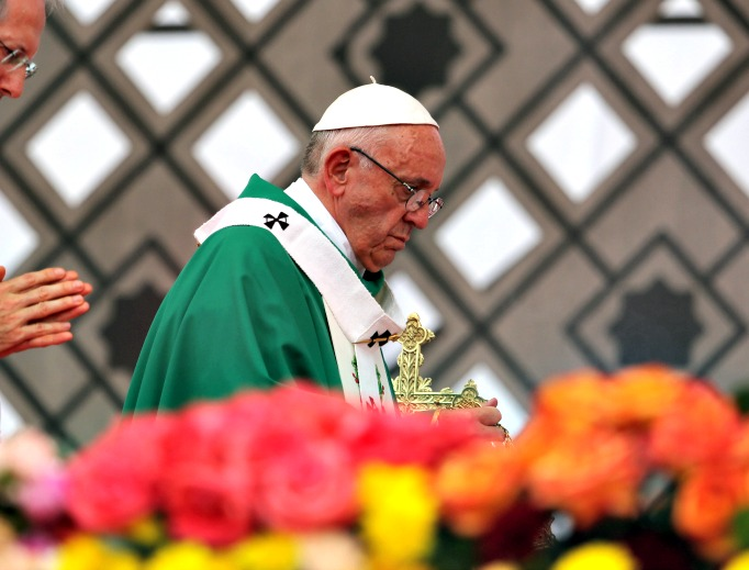 Pope Francis arrives for Mass Sept. 10 in Colombia.