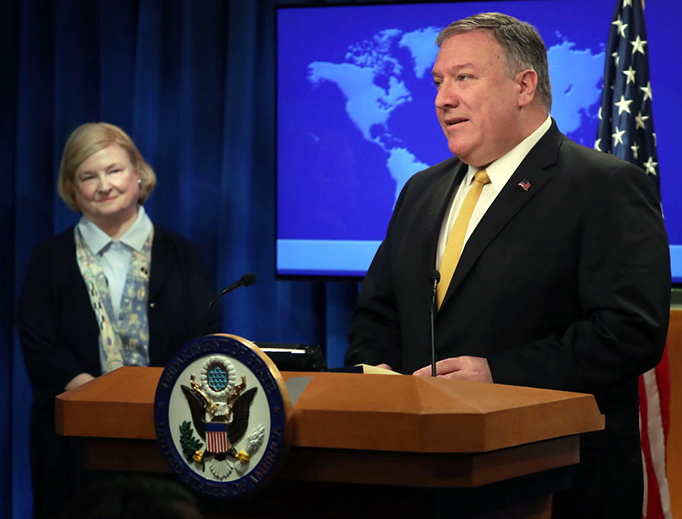 """U.S. Secretary of State Mike Pompeo is joined by Mary Ann Glendon while announcing the formation of a commission to redefine human rights, based on """"natural law and natural rights"""", during a news conference at the Department of State, July 8, 2019, in Washington, D.C."""