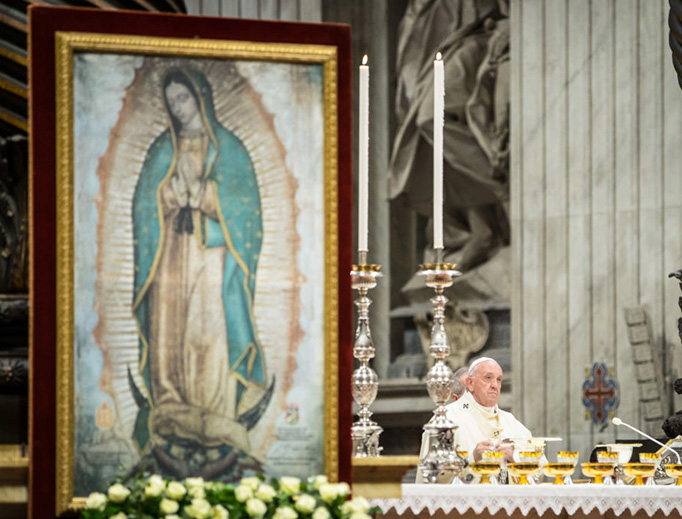 Pope Francis offers Mass on the Feast of Our Lady of Guadalupe, Dec. 12, in St. Peter's Basilica.