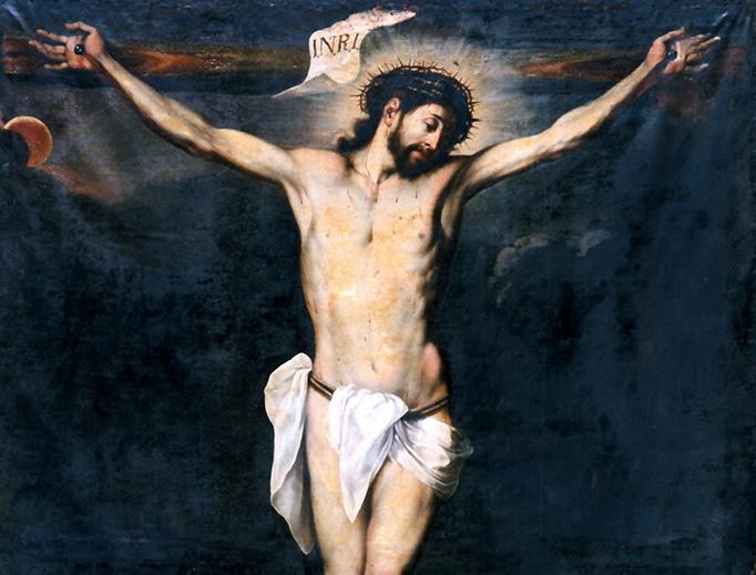 """Fray Juan del Santísimo Sacramento (1611–1680), """"Calvario con Carmelita"""""""