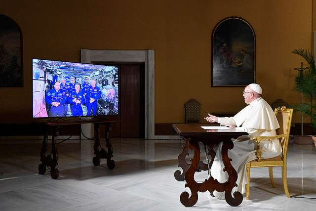 Pope Francis talks with the crew on the International Space Station Oct. 26.