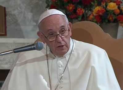 Pope Francis addressing Rome's Evangelical Lutheran Church