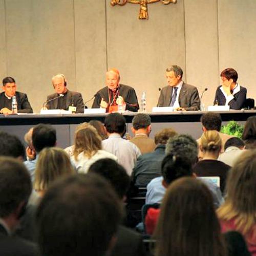 Cardinal Christoph Schönborn addresses the press regarding the synod Oct. 16.