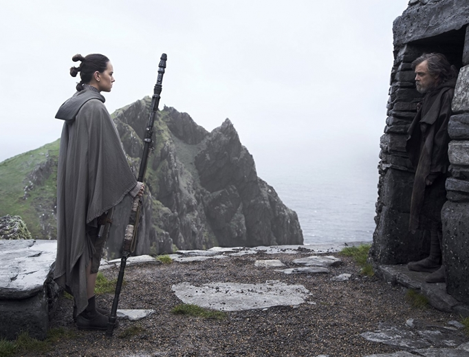 Rey (Daisy Ridley) and Luke Skywalker (Mark Hamill) star in 'The Last Jedi.'