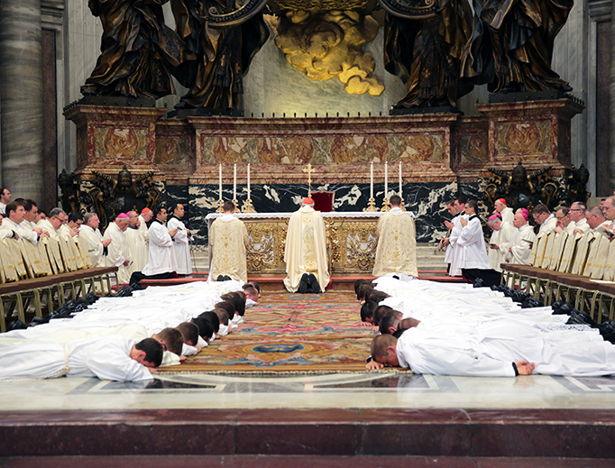 Cardinal Seán Patrick O'Malley, Archbishop of Boston, celebrates the ordination of transitional deacons from the Pontifical North American College Sept. 29, 2016, at St. Peter's Basilica.