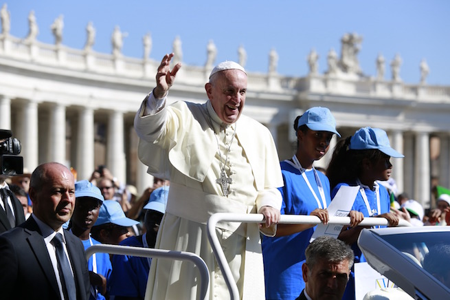 Pope Francis arriving at the jubilee audience for volunteers, St. Peter's Square, Sept. 3, 2016.