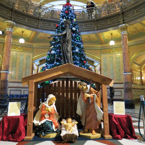 CHRISTMAS AT THE CAPITOL. The Nativity scene at the Illinois State Capitol building in Springfield.