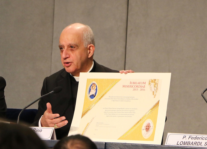 Archbishop Rino Fischella presenting Pastoral Resources for the Jubilee Year at the Holy See Press Office, Dec. 4, 2015.