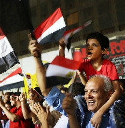 Egyptians celebrate in Cairo's Tahrir Square July 4 following the military ouster of Egyptian President Mohammed Morsi.