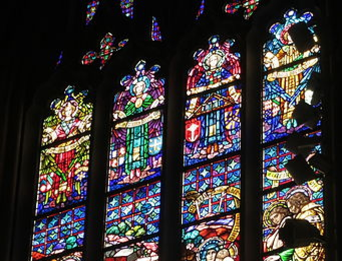 Stained glass window inside Detroit's Most Blessed Sacrament Cathedral.