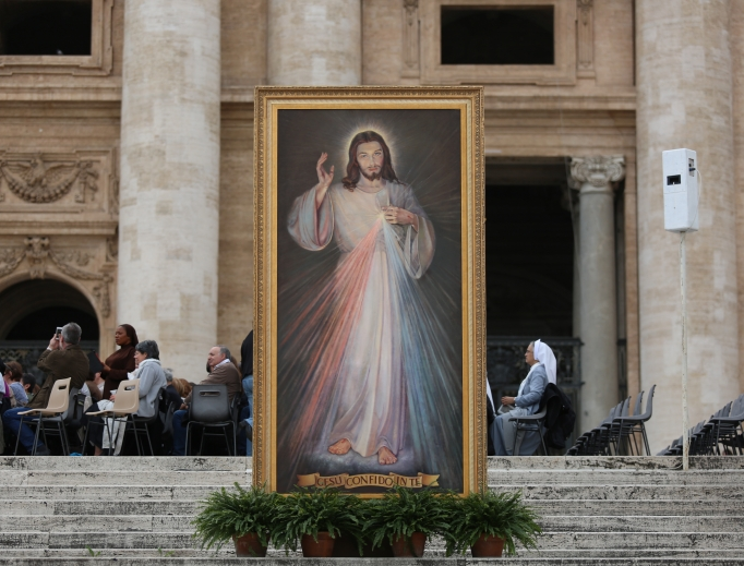 Divine Mercy image at the Divine Mercy vigil in St. Peter's Square April 2, 2016.