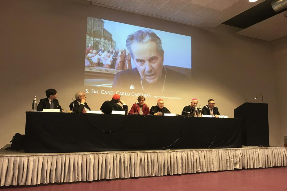 """A video of the late Cardinal Carlo Caffarra opens the Rome conference, """"Catholic Church: Where Are You Heading?,"""" April 7, 2018."""