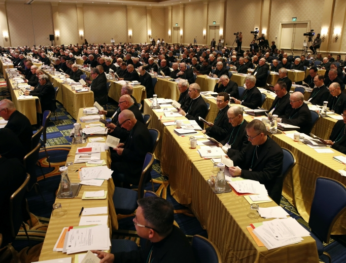 Members of the U.S. Conference of Catholic Bishops gather at the USCCB's annual fall meeting Nov. 13 in Baltimore.