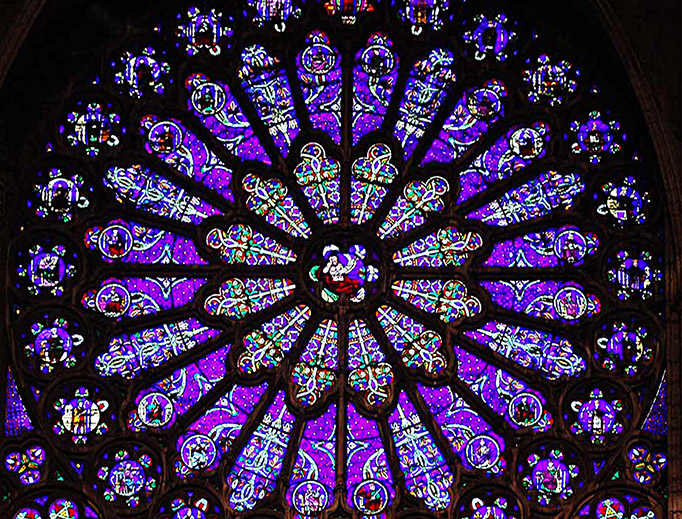 Rose window on south end of transept arm, St. Denis Cathedral, St. Denis, France. The stained glass depicts the Tree of Jesse (ancestors of Christ from Jesse onwards) in the Art Nouveau style.