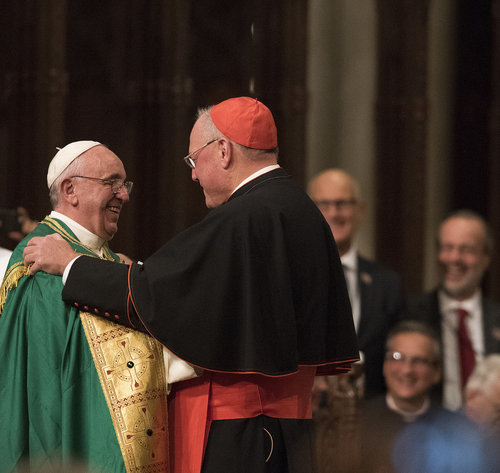 Pope Francis thanks Cardinal Timothy Dolan for the warm welcome at St. Patrick's Cathedral in New York on Sept. 24.