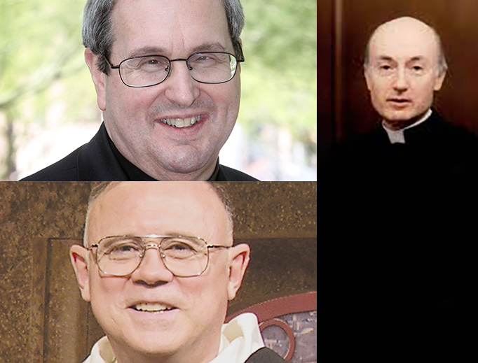 Fr. Robert Spitzer (upper left), Fr. Brian Mullady (lower left) and Fr. George Rutler (right)