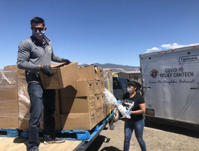 """Volunteers deliver food baskets to New Mexico's Acoma pueblo from the """"Knights of Columbus Covid-19 Relief Canteen"""", April 2020."""