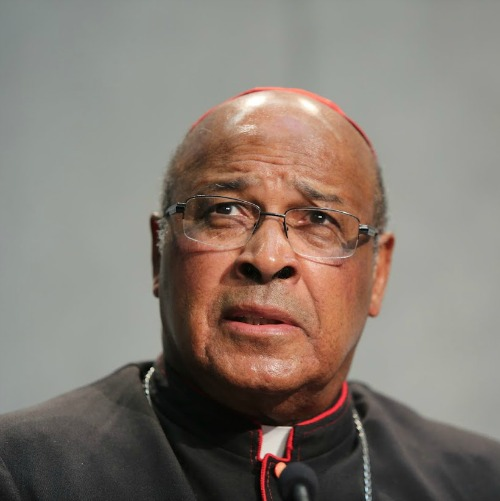 Cardinal Wilfrid Napier of South Africa speaks at a briefing on the Synod of Bishops on Oct. 20 in the Holy See Press Office.