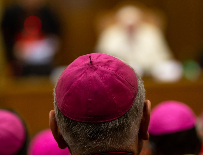 Pope Francis leads the introductory prayer and delivers his greeting on the opening day of the 15th Ordinary General Assembly of the Synod of Bishops in the Vatican Synod Hall Oct. 3.