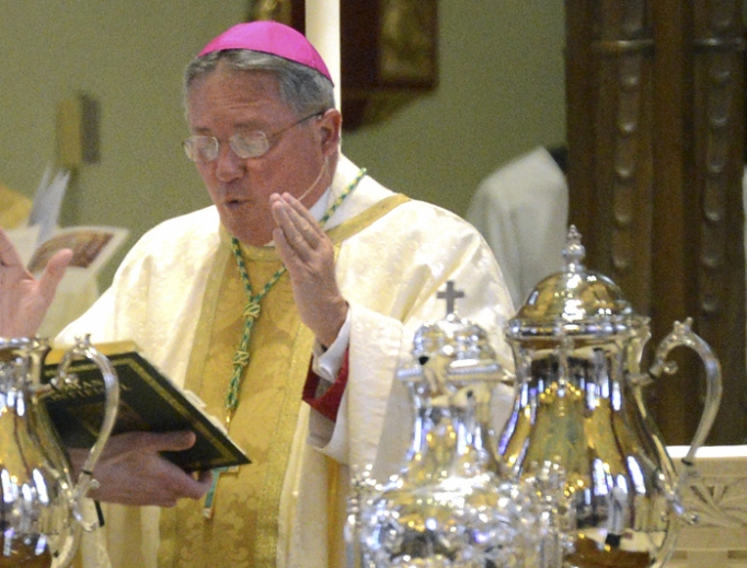 Bishop Michael Cote of Norwich, Connecticut, celebrates the chrism Mass at the Cathedral of St. Patrick in 2015. Deacon Mark King said Bishop Cote told him Father Greg Mullaney was a case of 'unintegrated sexuality,' which was why he wasn't permanently removed from the priesthood.