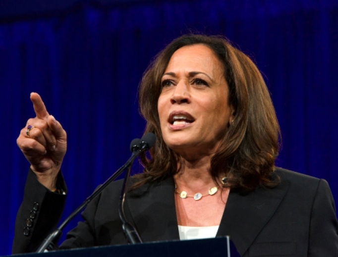 Presidential candidate Kamala Harris speaks at the Democratic National Convention summer session in San Francisco,  on Aug. 23, 2019.