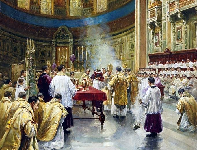 P. Villanueva, 'Mass in St. John Lateran in Rome', early 20th century