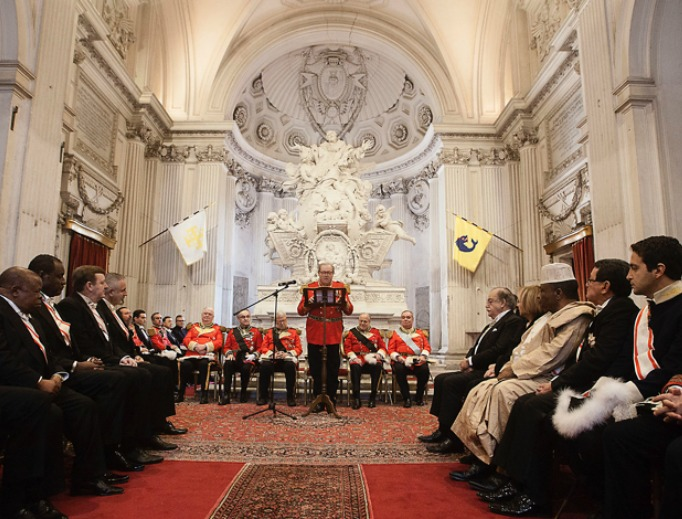 Grand Master Fra' Matthew Festing addresses diplomats accredited to the Sovereign Order of Malta on Jan. 10 at the Magistral Villa in Rome.