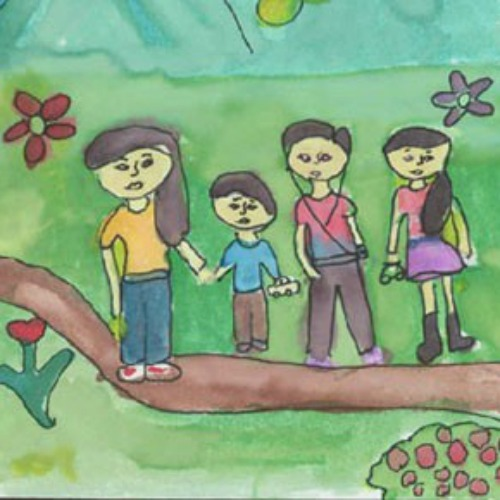 Artwork drawn by a child in the U.S. Department of Health and Human Services' Unaccompanied Alien Children's program.