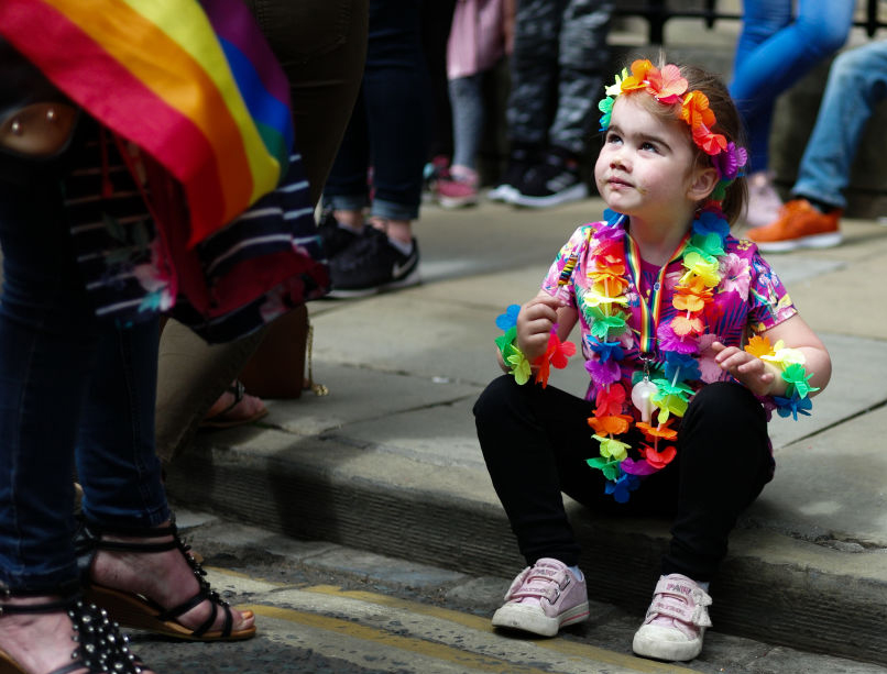 A child attends the York Pride parade on June 9, 2018, in York, England.