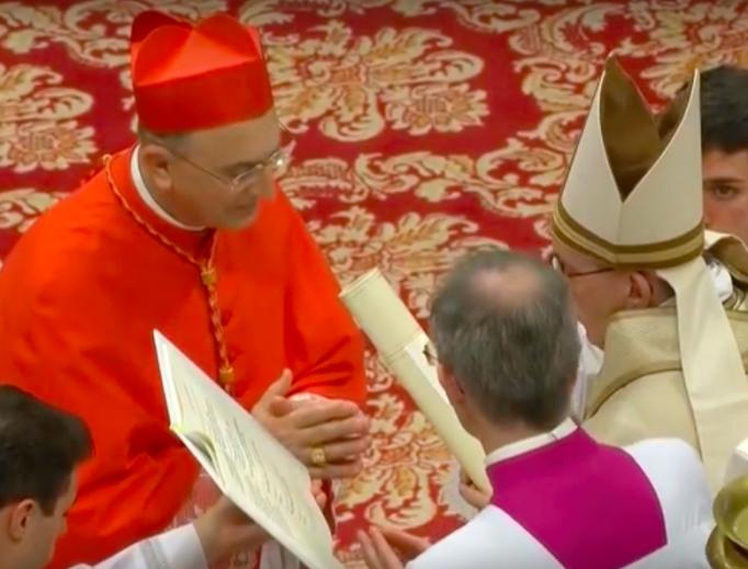 November 2016 consistory making the apostolic nuncio to Syria a cardinal. Cardinal Mario Zenari is shown with Pope Francis.