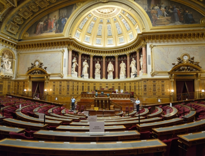 Meeting hall of the French Senate inside the Luxembourg Palace.