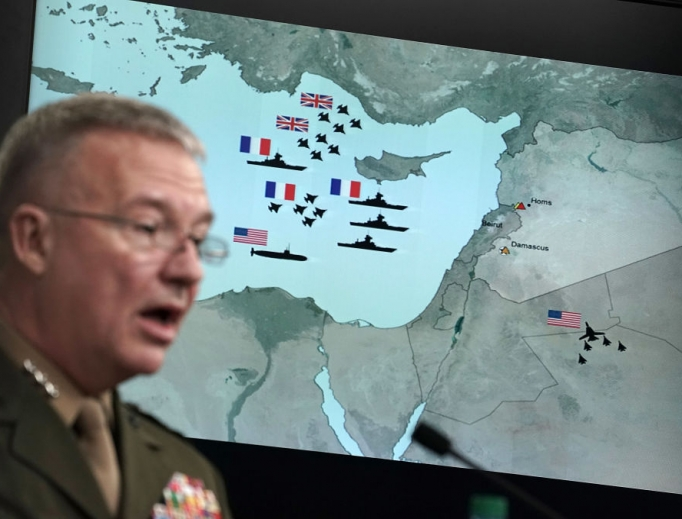 U.S. Marine Lt. Gen. Kenneth F. McKenzie Jr. speaks during a news briefing at the Pentagon April 14 in Arlington, Virginia. The Pentagon held a briefing on the latest development of the strike in Syria.