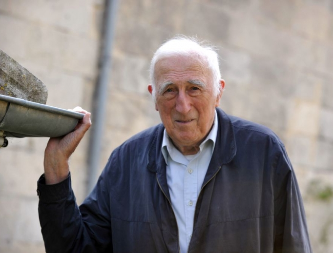Jean Vanier poses at home on Sept. 23, 2014, in Trosly-Breuil, France.
