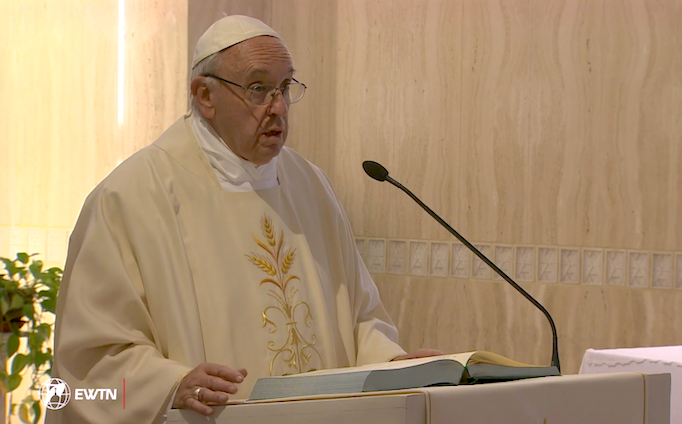 Pope Francis preaching this morning in the chapel of Santa Marta, his last morning homily before the summer holidays. The Holy Father's daily homilies at his residence will resume after he returns from his Sept. 6-11 visit to Colombia.