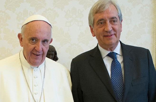Pope Francis with Libero Milone, the Vatican's first auditor general.