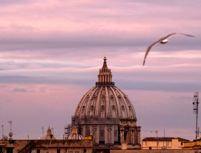 A seagull flies near the Vatican's St. Peter's Basilica on April 23 during Italy's lockdown aimed at curbing the spread of the COVID-19 infection, caused by the novel coronavirus, which is also impacting the finances of the Holy See.