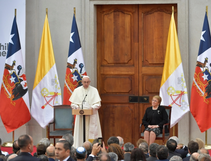 Pope Francis meets with authorities, civil society and the diplomatic corps in the Palacio de la Moneda in Santiago, Chile, Jan. 16.