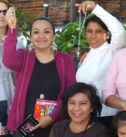 Edyth Triana (top left), with other Latina pro-life activists holding their rosaries in front of the Birmingham Planned Parenthood abortion facility.