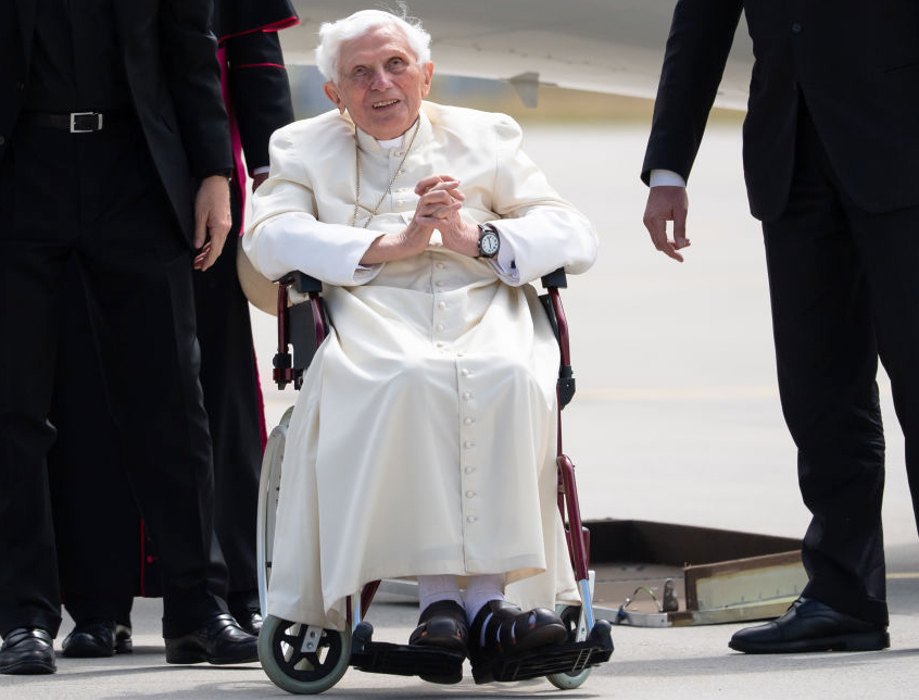 Pope Emeritus Benedict XVI prepares to depart the Munich, Germany, airport on June 22, 2020, after visiting his ailing brother.