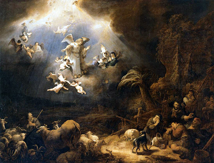 """Govert Flinck, """"Angels Announcing Christ's Birth to the Shepherds,"""" 1639"""