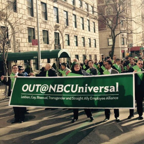 Supporters of Out@NBCUniversal, an organization that promotes LBGT rights, march in the 2015 St. Patrick's Day Parade in New York City.