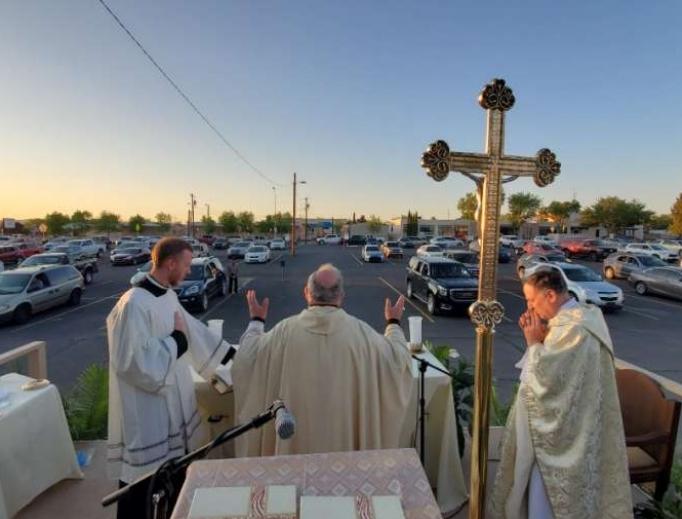 Bishop Peter Baldacchino celebrates Mass on Holy Thursday.
