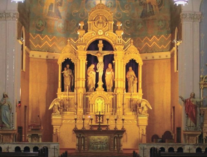 The beauty of Holy Redeemer Church (above and below) in Madison, Wisconsin, and St. Francis de Sales Oratory in St. Louis (below) is highlighted in video tours online. Also a gem online: St. Mary's Assumption Church of St. Alphonsus Ligouri parish in New Orleans (shown below).