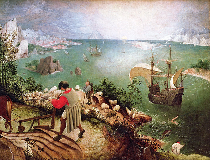 """Pieter Bruegel the Elder, """"Landscape with the Fall of Icarus,"""" c. 1560"""