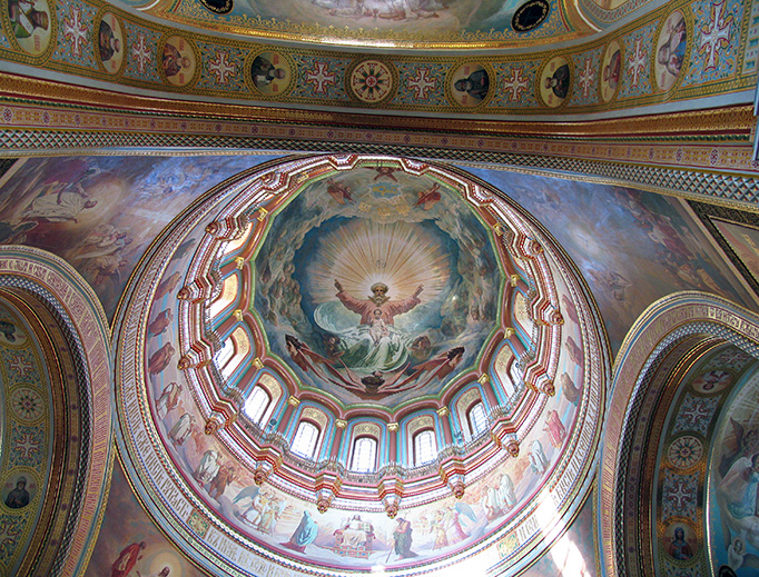 The interior of the Cathedral of Christ the Saviour in Moscow, which was destroyed by the Communists in 1931 and rebuilt in the 1990s.
