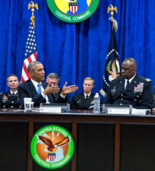 President Barack Obama receives a briefing Sept. 17 from Gen. Lloyd J. Austin III, Commander, U.S. Central Command, at MacDill Air Force Base in Tampa, Fla.