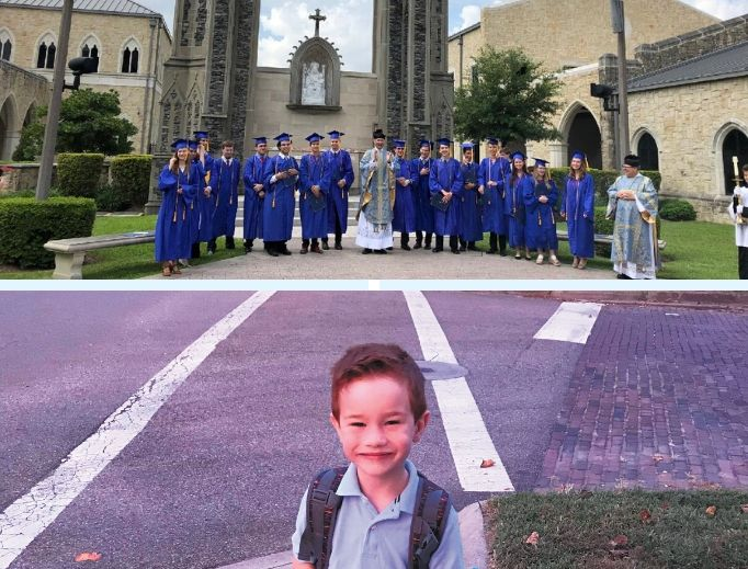 Top to bottom: Houston's Holy House Academy provides home-school families with traditional educational support. And St. Francis de Sales School in Newark, Ohio, educates students like Patrick Gassman, whose family participates in EdChoice, Ohio's voucher system.